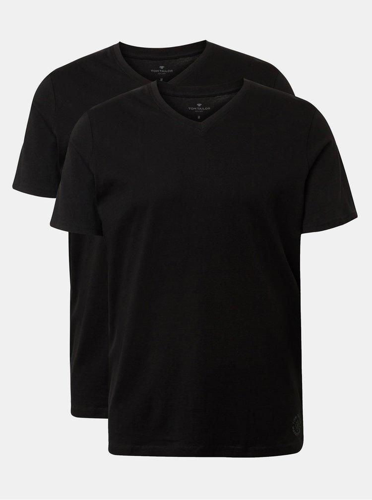 Sada dvou černých pánských basic triček Tom Tailor