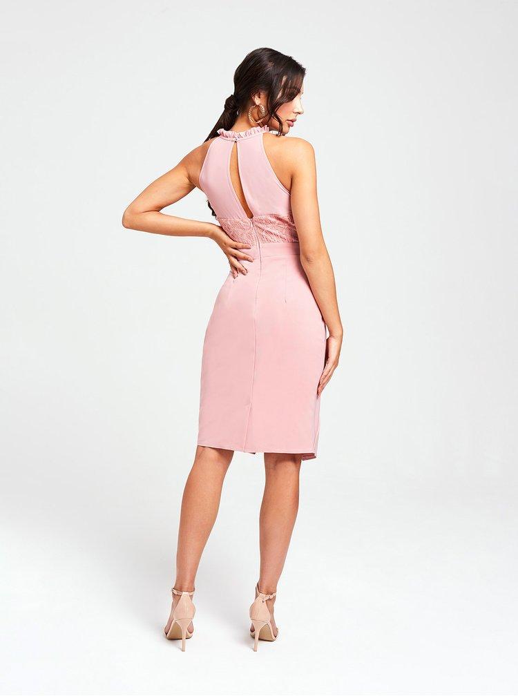 Rúžové šaty s riasením na boku Paper Dolls