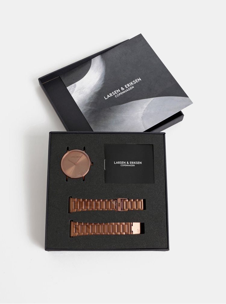 Dámské hodinky s nerezovým páskem v bronzové barvě LARSEN & ERIKSEN