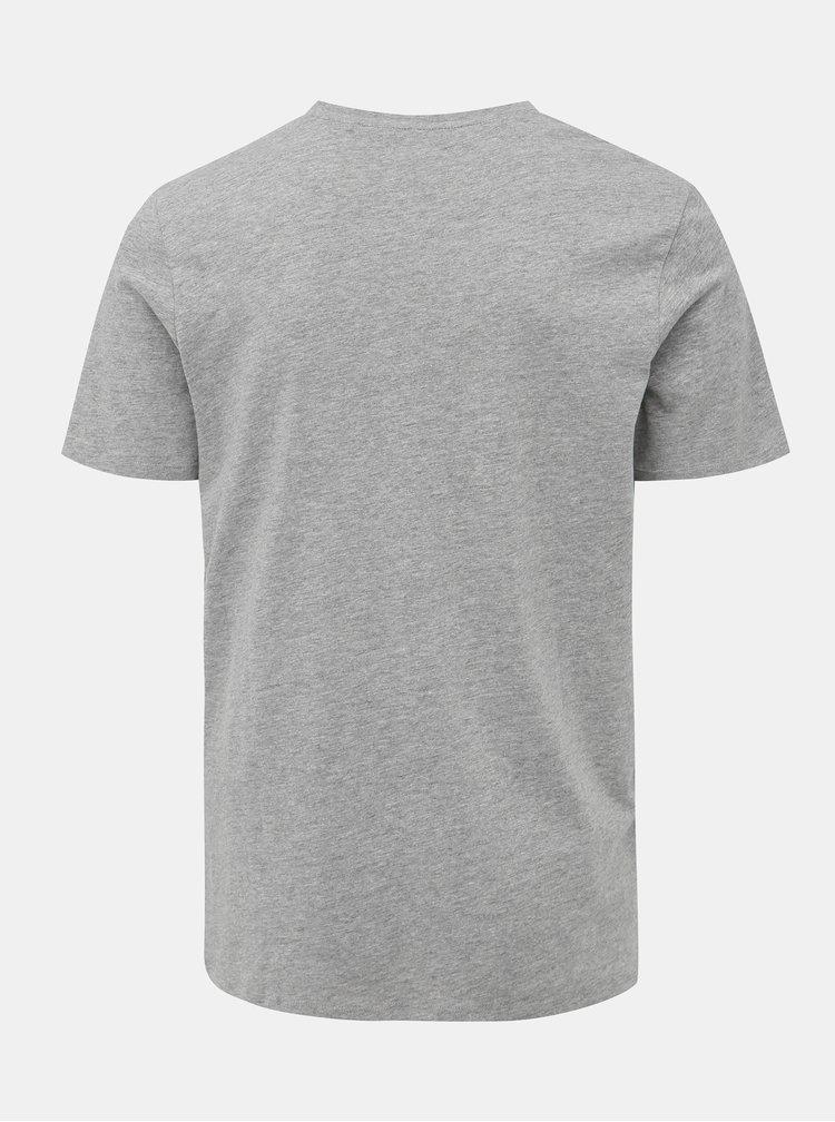 Šedé žíhané slim fit tričko s potlačou Jack & Jones Corp