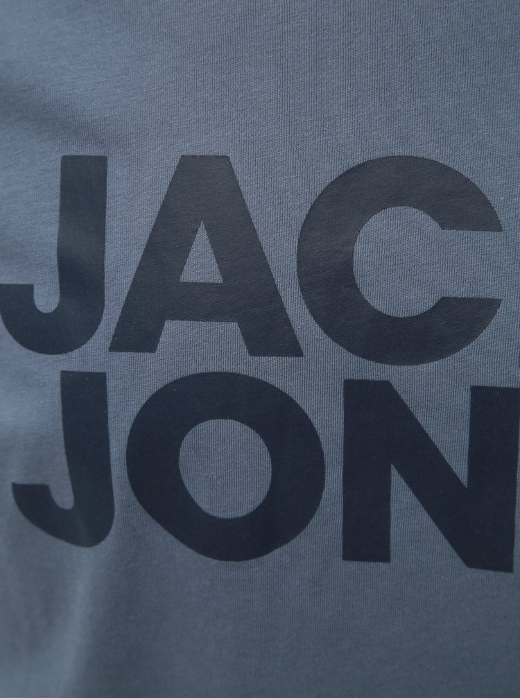 Modré slim fit tričko s potiskem Jack & Jones Corp