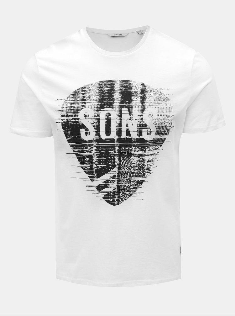 Bílé tričko s potiskem ONLY & SONS Pace