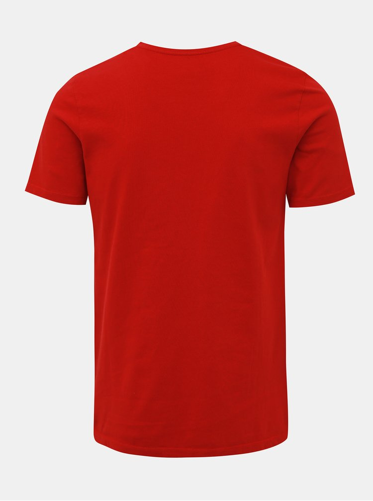 Červené tričko s potiskem Jack & Jones Biker
