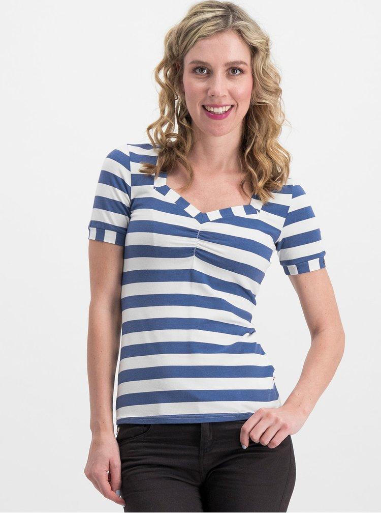 Tricou alb-albastru in dungi Blutsgeschwister Logo Stripe
