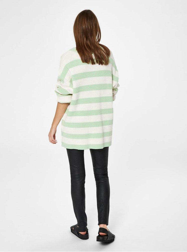 Krémovo-zelený pruhovaný volný basic svetr Selected Femme Neo