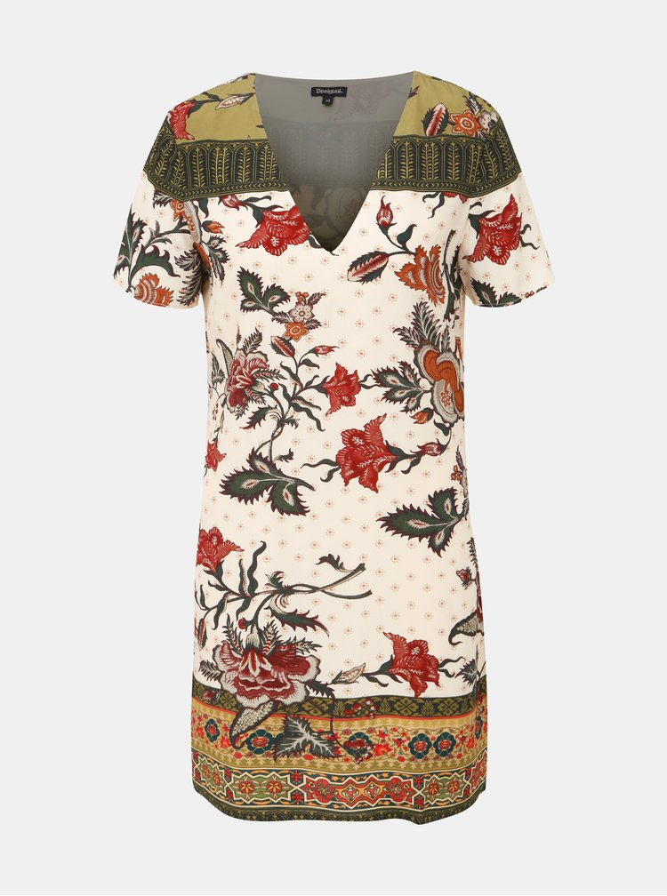 Krémové kvetované šaty Desigual Hilier