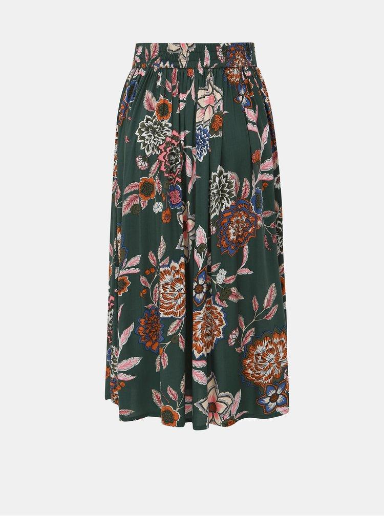 Khaki květovaná midi sukně Jacqueline de Yong Mandi