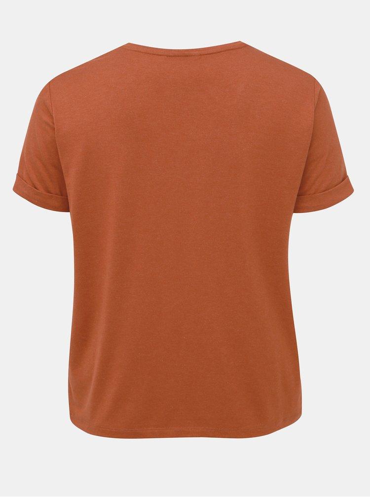 Hnedé basic tričko ONLY CARMAKOMA Carma
