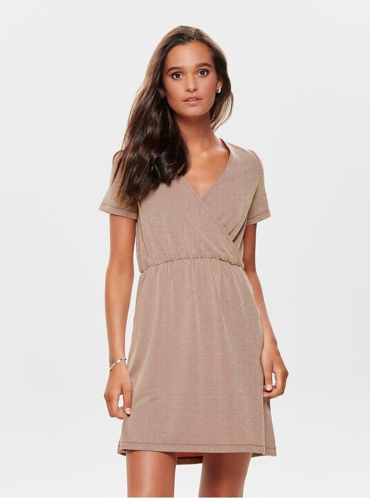 Hnedé pruhované šaty ONLY Shirley