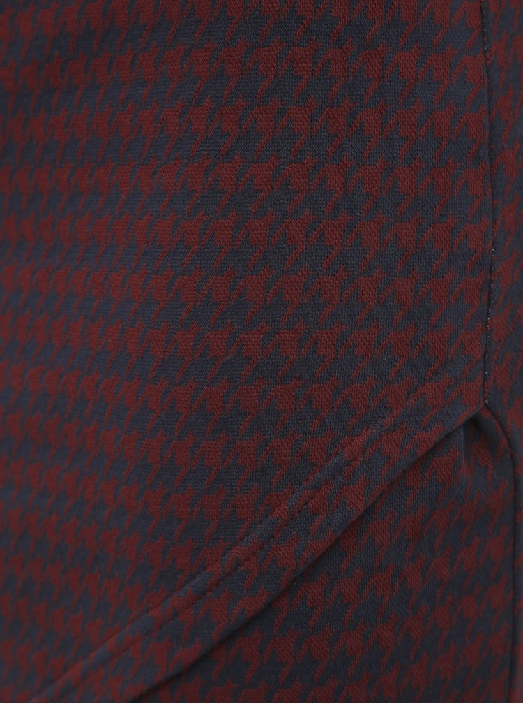 Vínová vzorovaná pouzdrová sukně ONLY Vigga