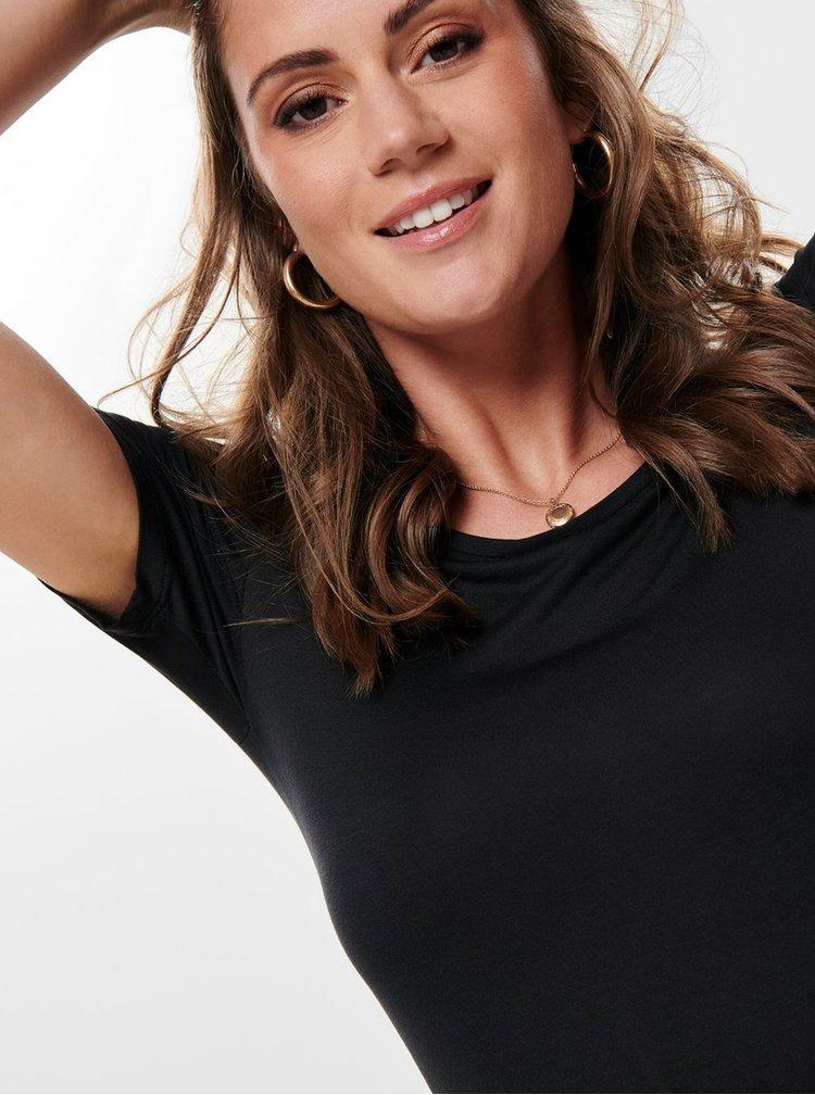 Čierne tričko s pásikmi na chrbte ONLY Carrie