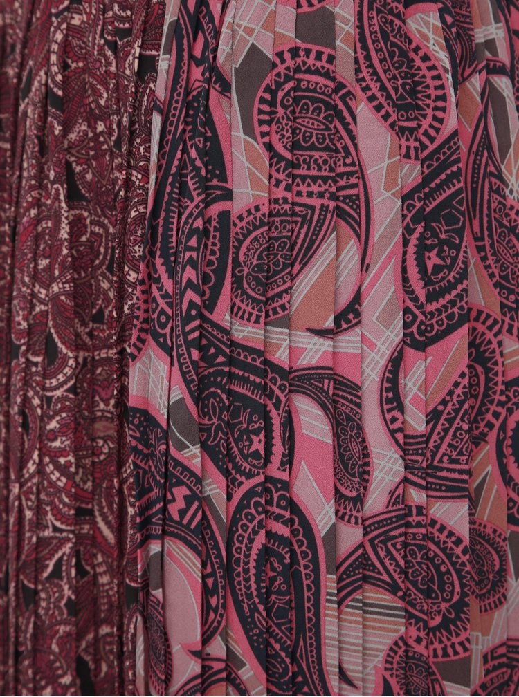 Vínová vzorovaná plisovaná midi sukně ONLY Lamelia