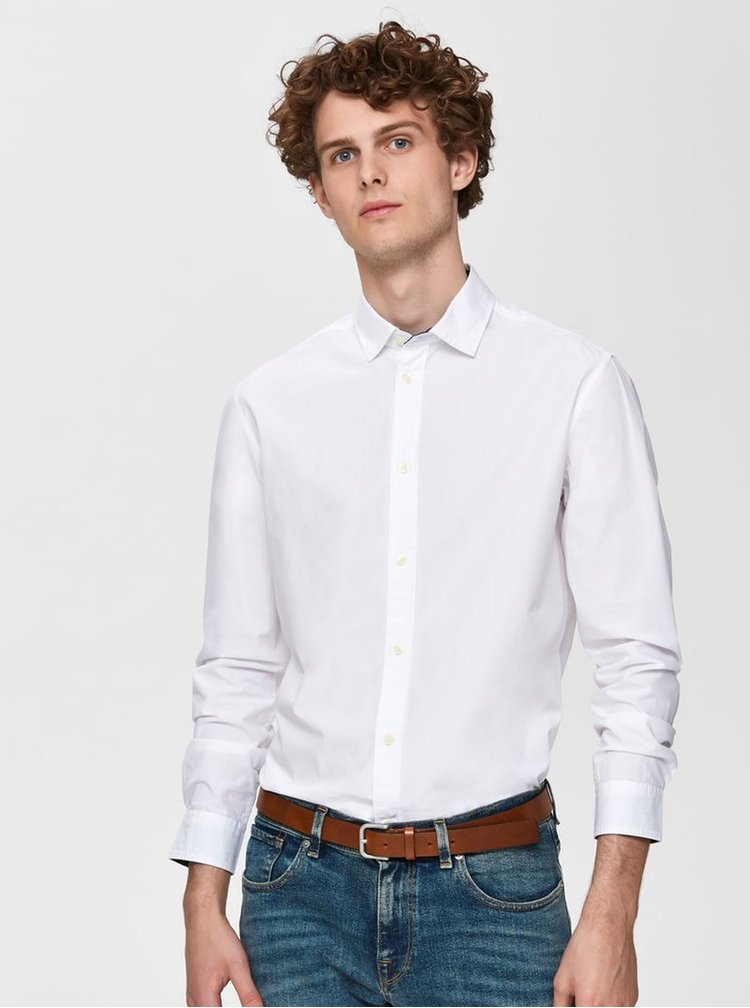 Bílá slim fit košile Selected Homme Mark
