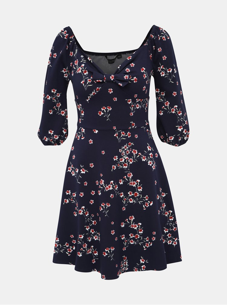 Tmavě modré květované šaty Dorothy Perkins