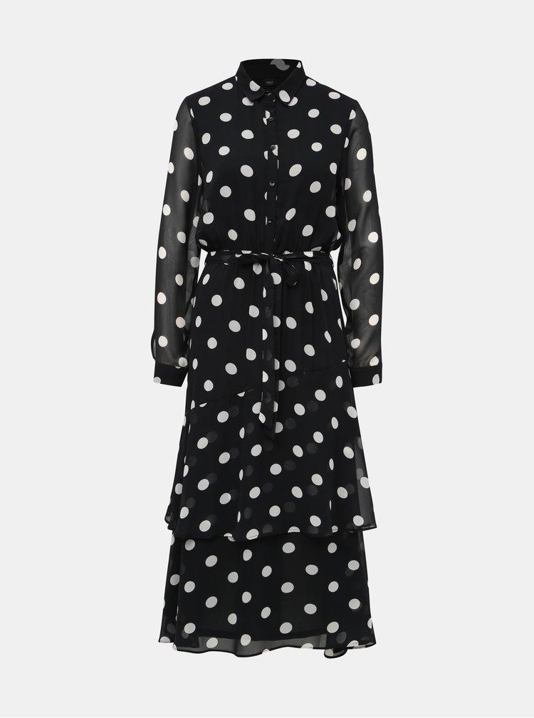 Černé puntíkované košilové maxišaty Dorothy Perkins