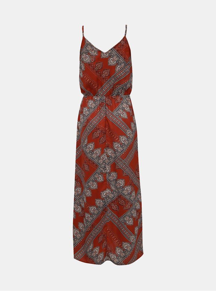 Hnědé vzorované šaty na ramínka ONLY Diana