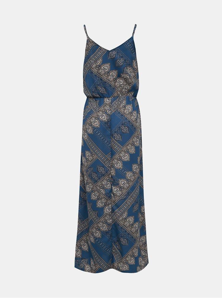 Modré vzorované šaty na ramínka ONLY Diana