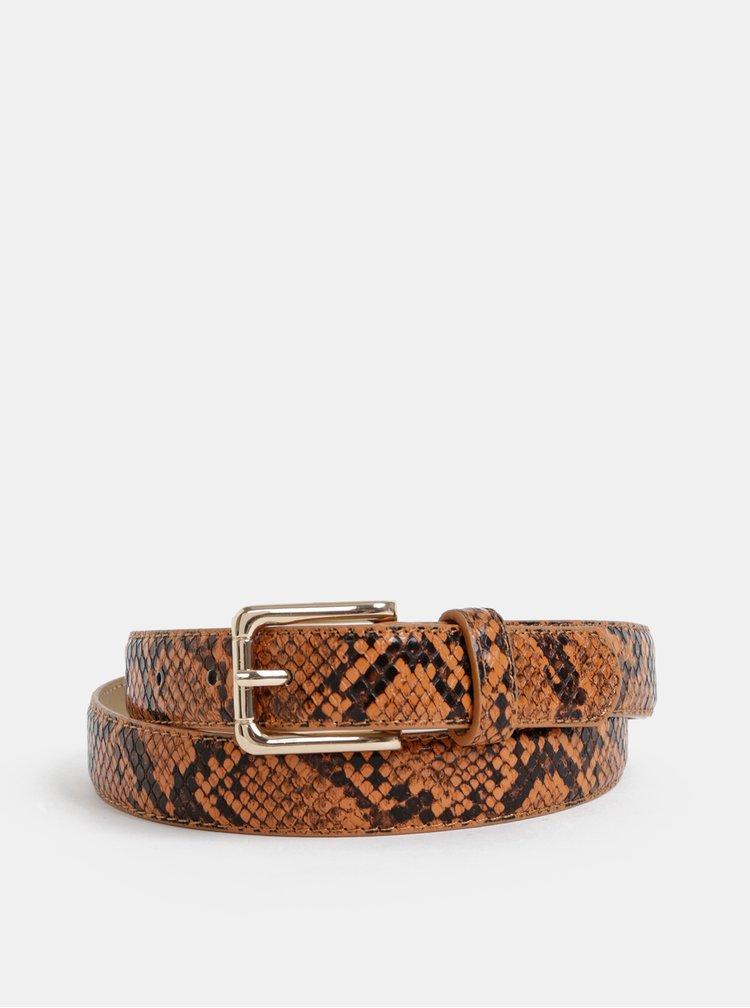 Hnědý pásek s hadím vzorem Pieces Julie