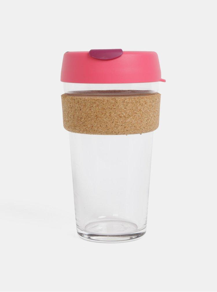 Růžový sklenený cestovný hrnček KeepCup Brew large 454 ml
