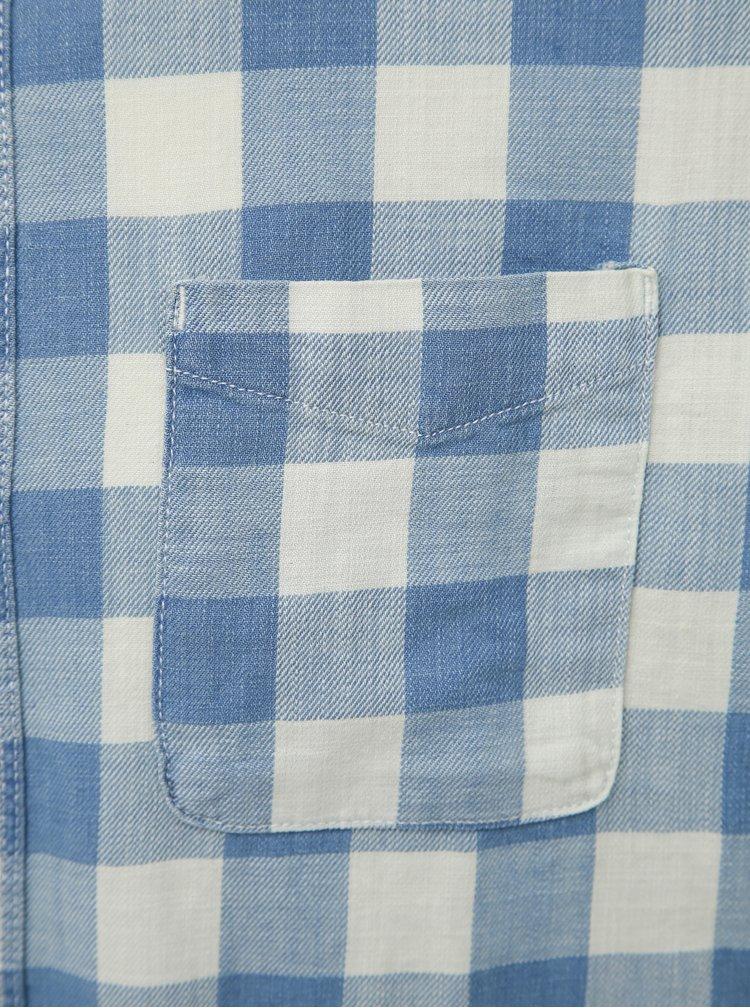 Modro-krémová kostkovaná košile Jack & Jones Marco