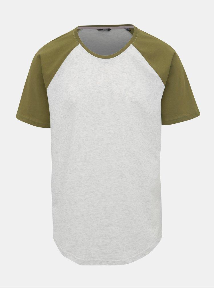 Zeleno-šedé žíhané basic tričko ONLY & SONS Logan