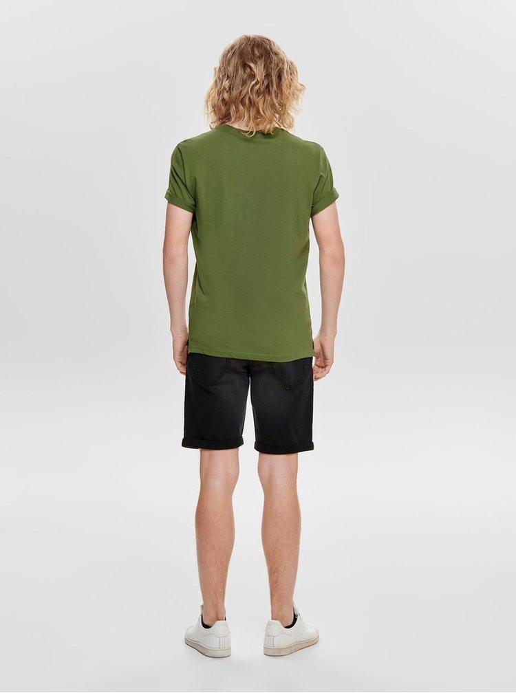 Khaki tričko s potiskem ONLY & SONS Layrence