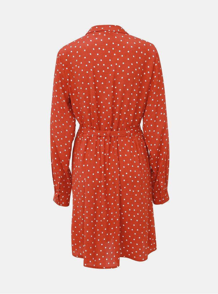 Červené bodkované košeľové šaty VILA Sulola