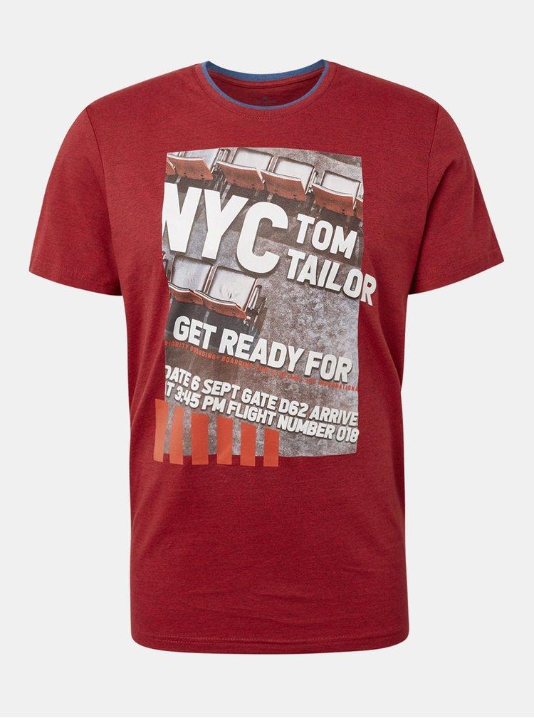Červené pánské žíhané tričko s potiskem Tom Tailor