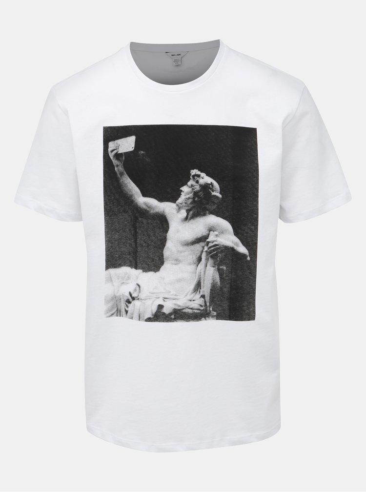 Bílé tričko s potiskem ONLY & SONS Gavin
