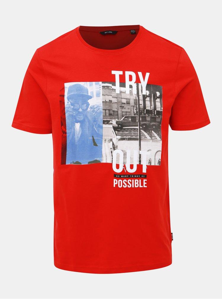 Červené tričko s potiskem ONLY & SONS Berge