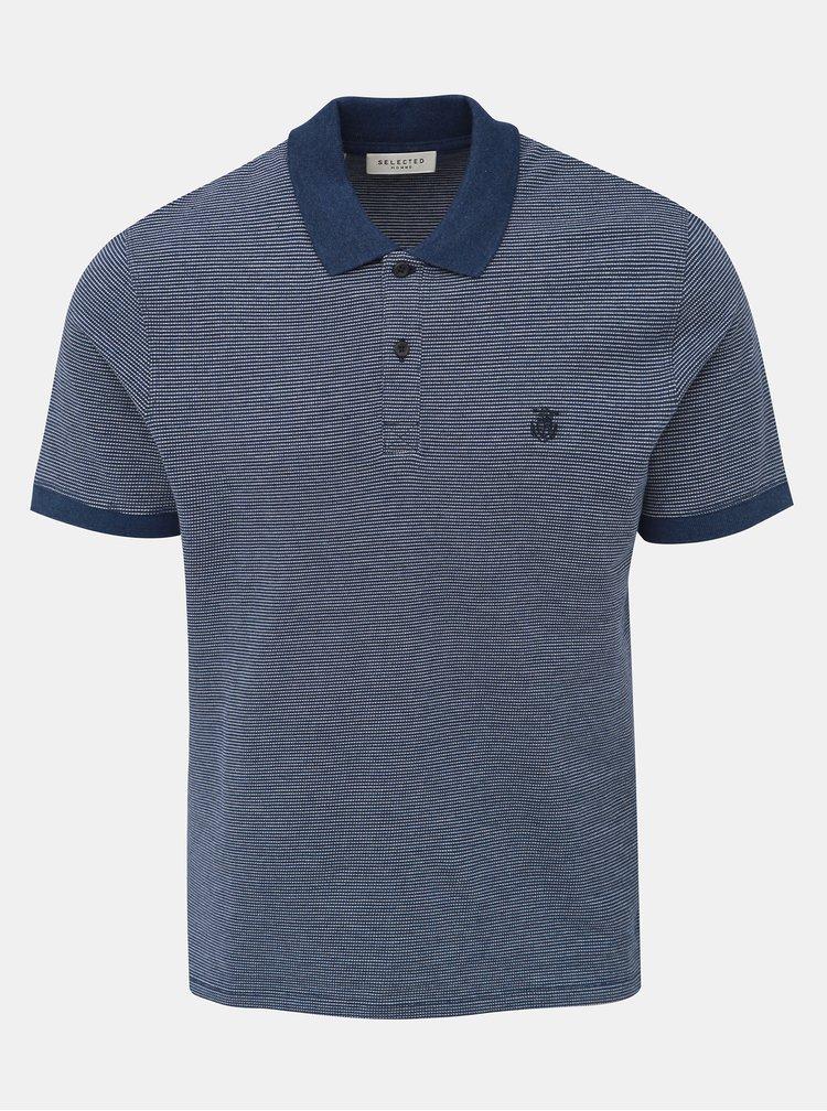 Modré žíhané polo tričko Selected Homme Aro