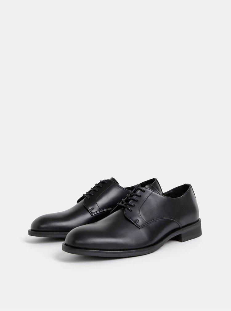 Čierne kožené polobotky Selected Homme Louis