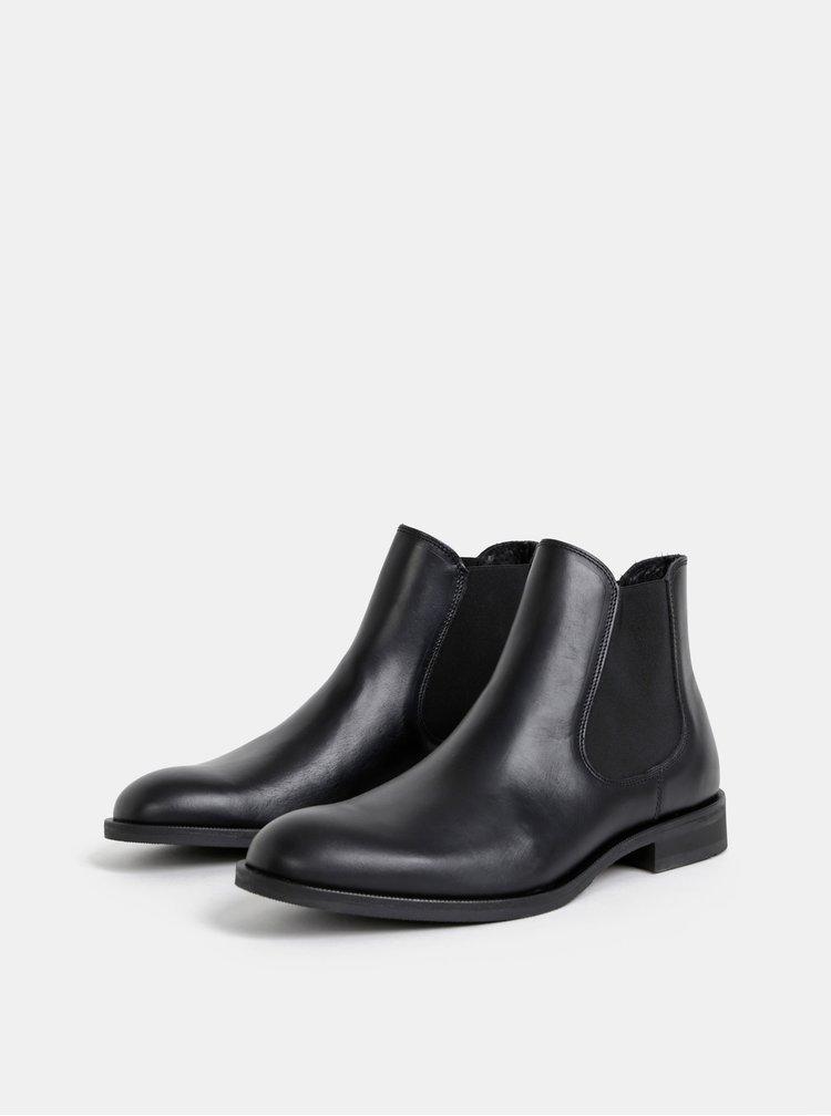 Černé kožené chelsea boty Selected Homme Louis
