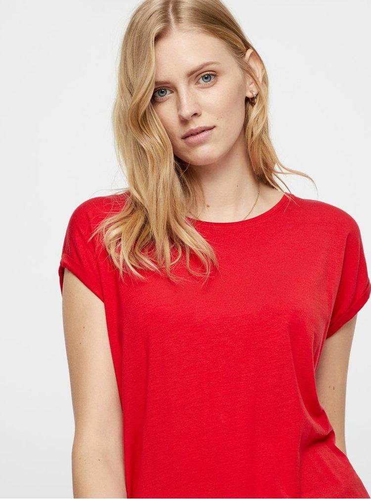 Červené volné basic tričko AWARE by VERO MODA Mava
