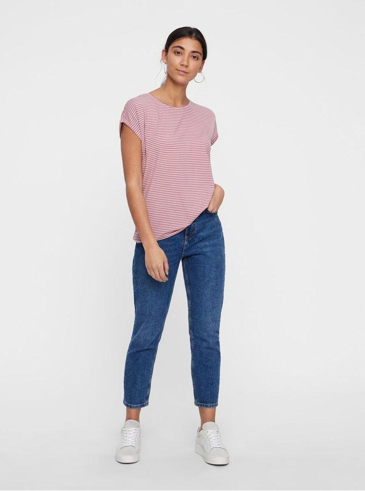 Bílo-růžové pruhované basic tričko AWARE by VERO MODA Mava
