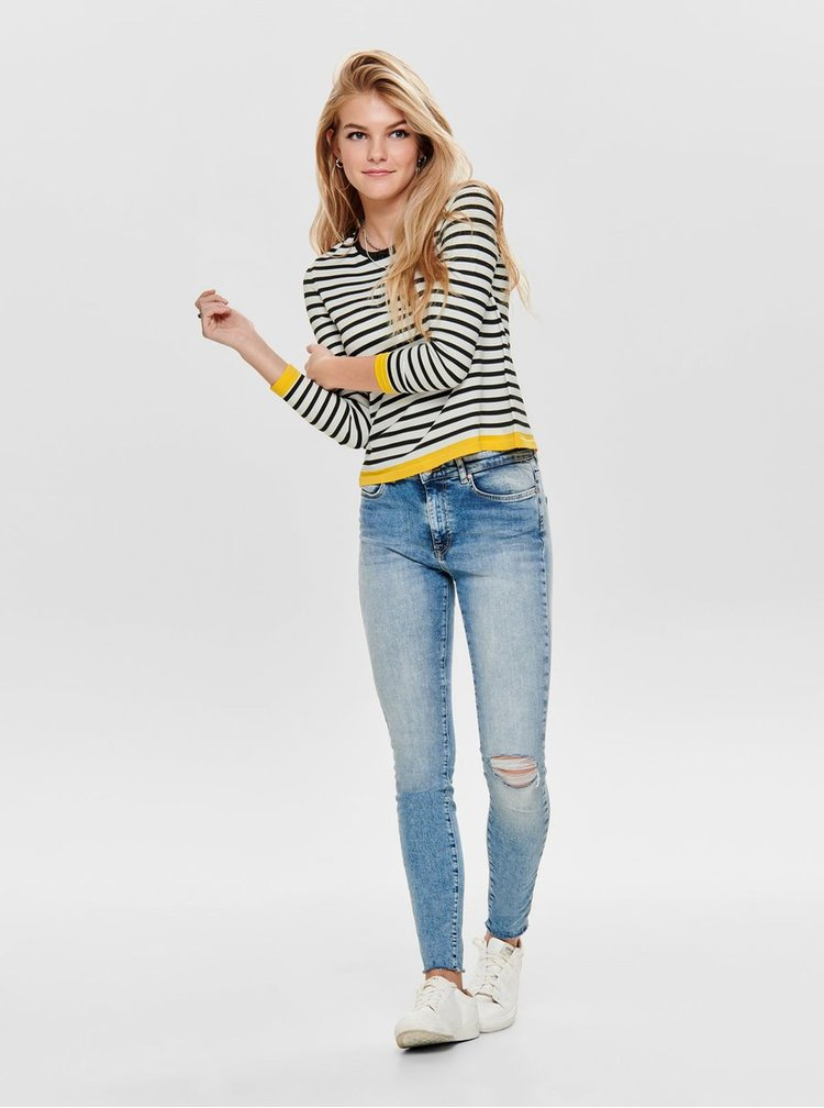 Modro–biely pruhovaný tenký sveter ONLY Suzana