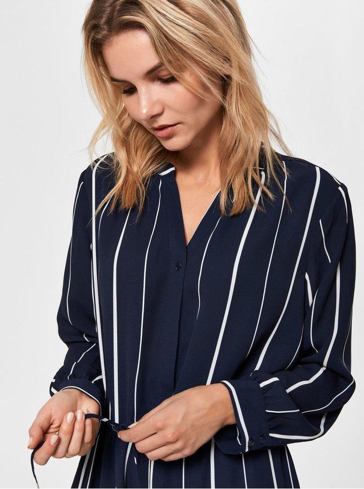 Tmavě modré pruhované košilové šaty Selected Femme Damina