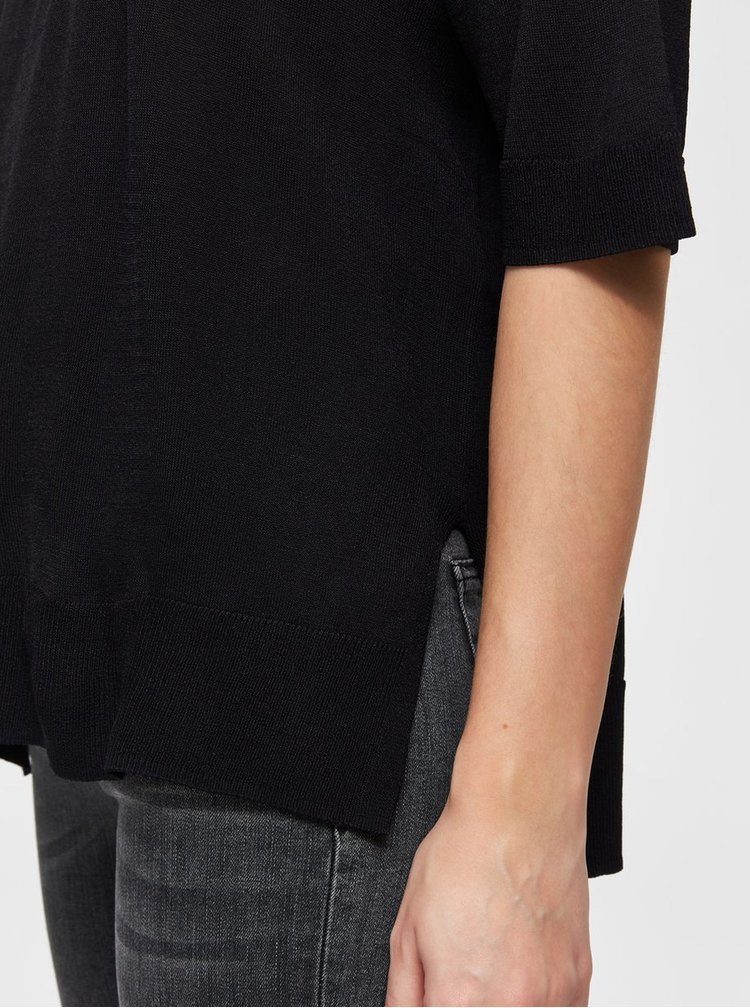 Černé svetrové tričko s rozparky Selected Femme Wille