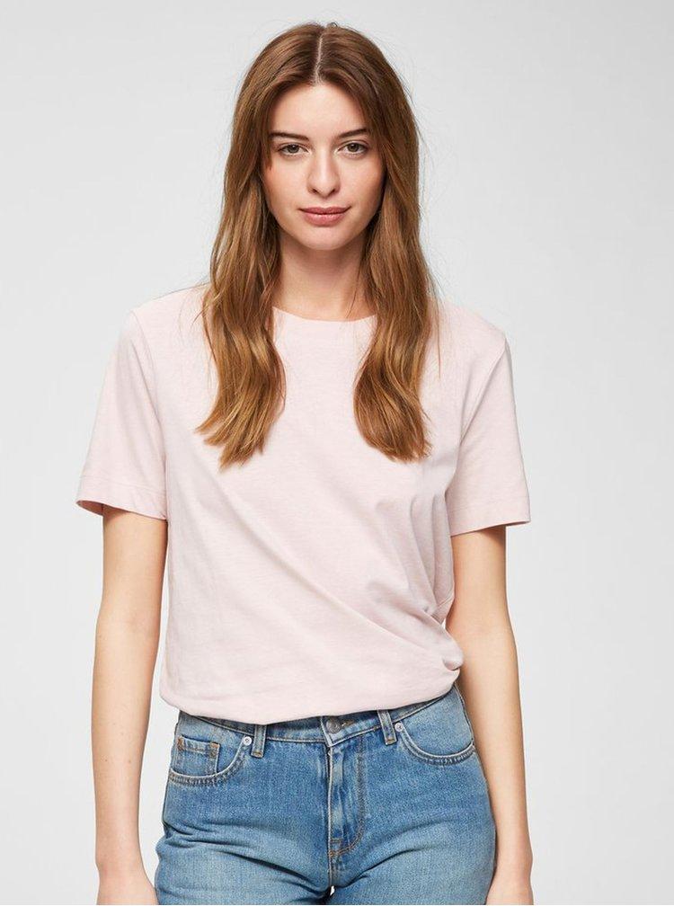 Tricou basic roz deschis Selected Femme Standard
