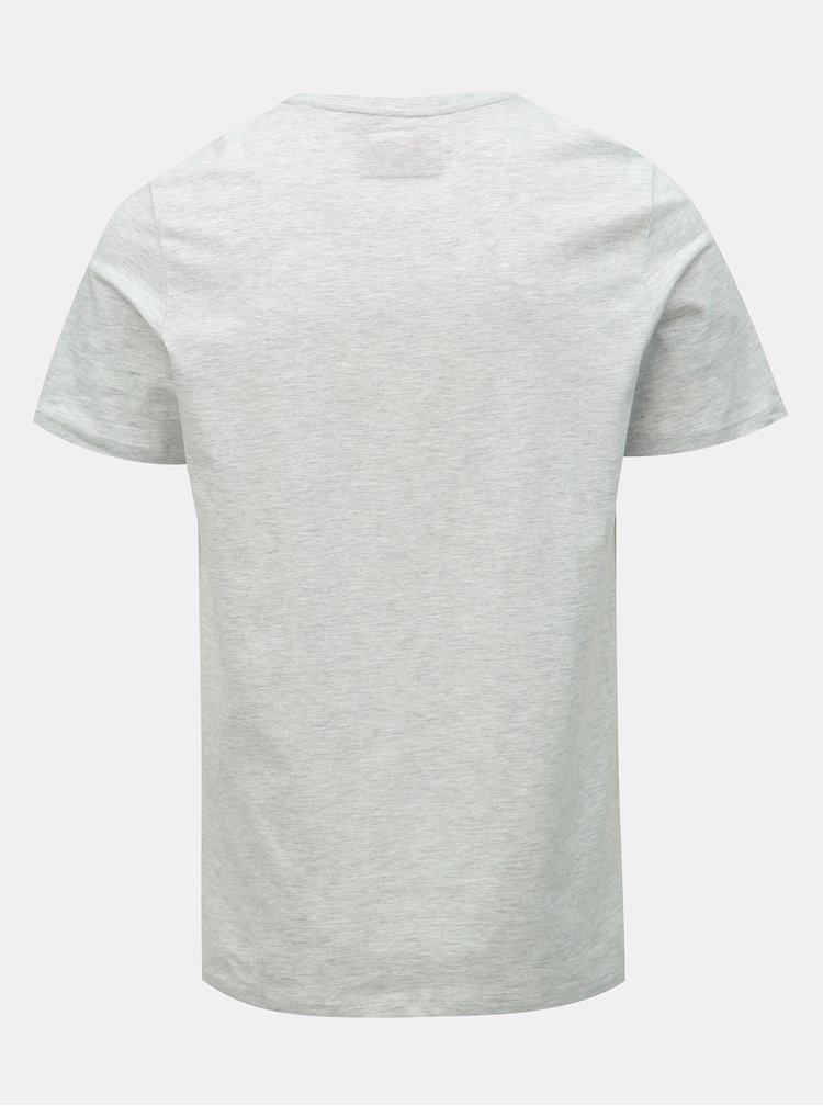 Svetlosivé melírované tričko s potlačou Jack & Jones Nine