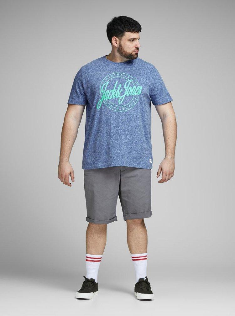 Modré melírované tričko s potlačou Jack & Jones Hazy
