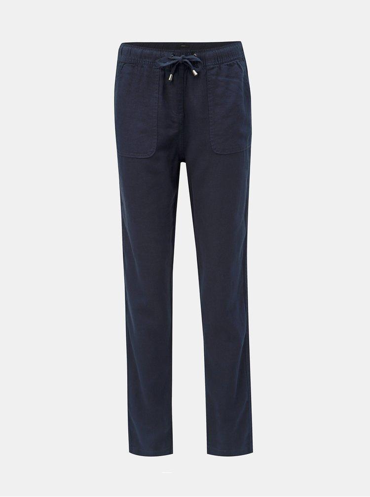 Tmavě modré lněné kalhoty M&Co