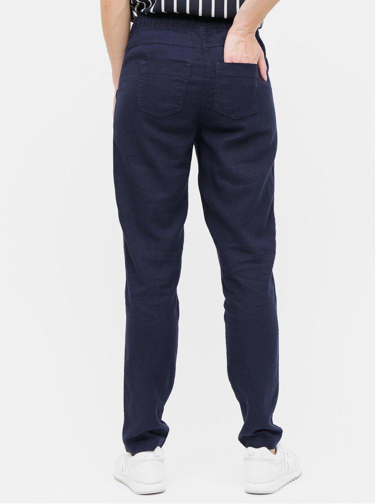 Tmavomodré ľanové nohavice M&Co