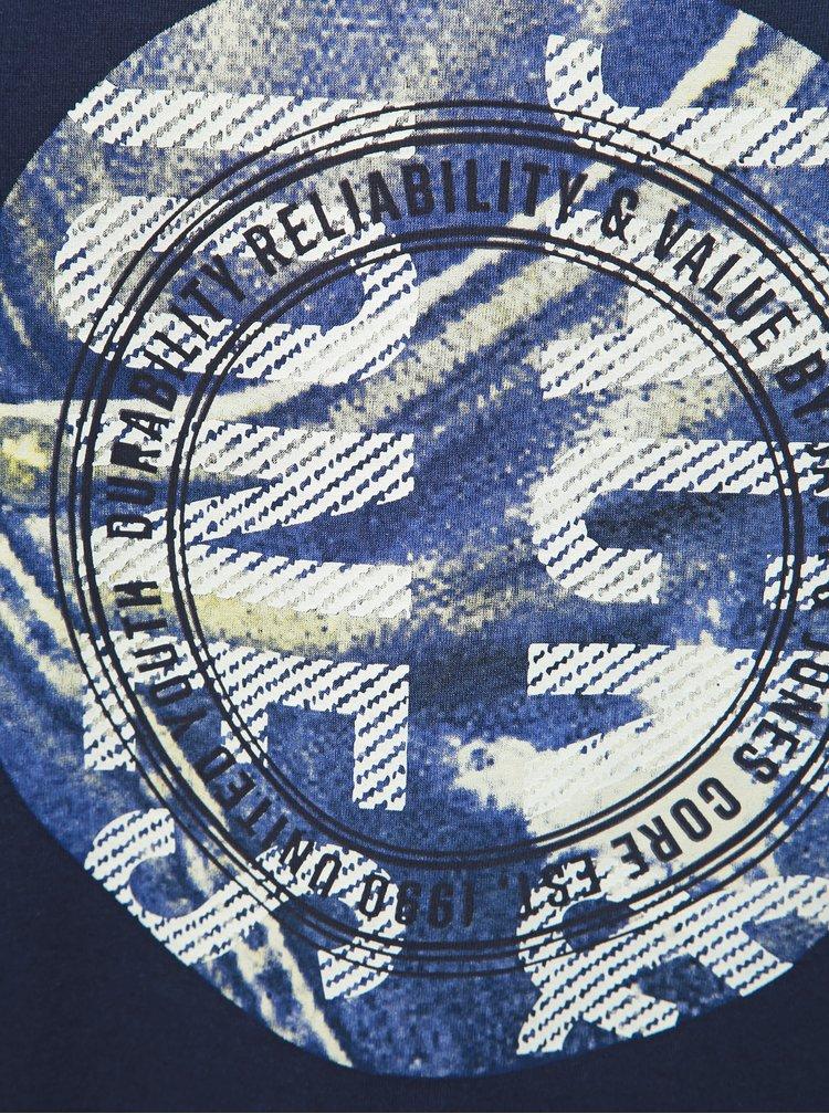 Tmavomodré tričko s potlačou Jack & Jones Jordan