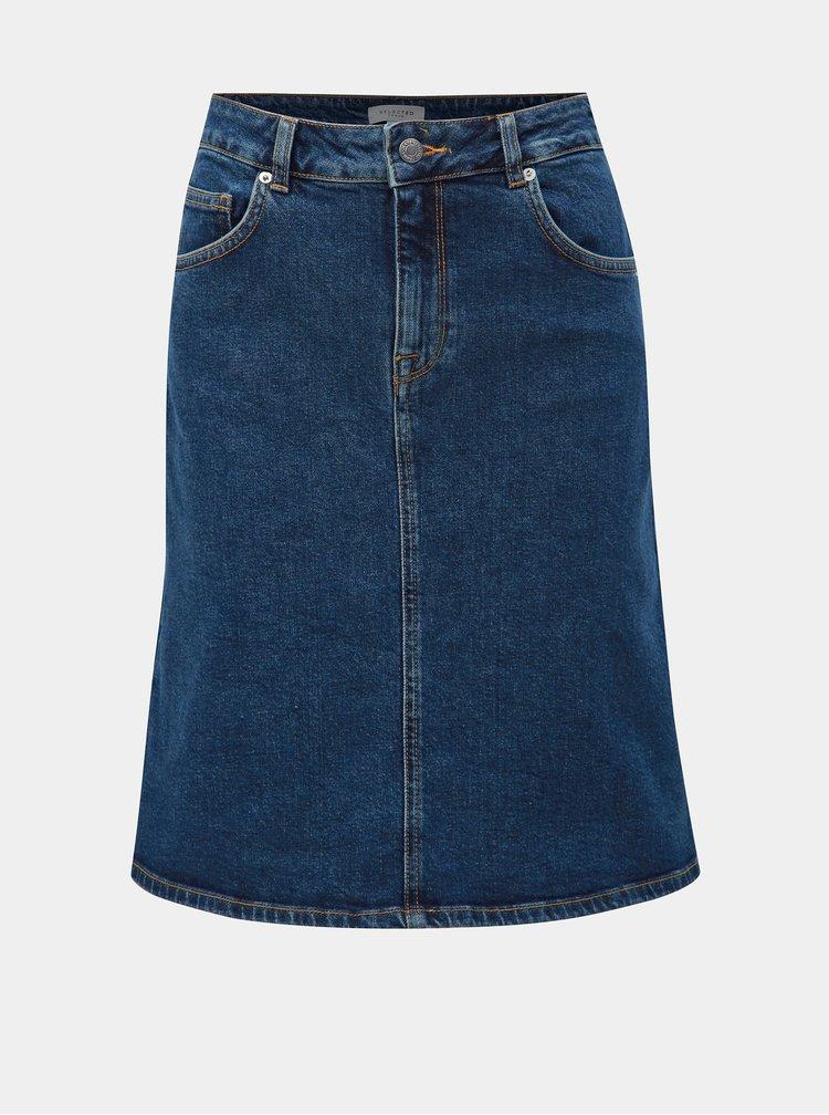 Tmavě modrá džínová sukně Selected Femme Freja