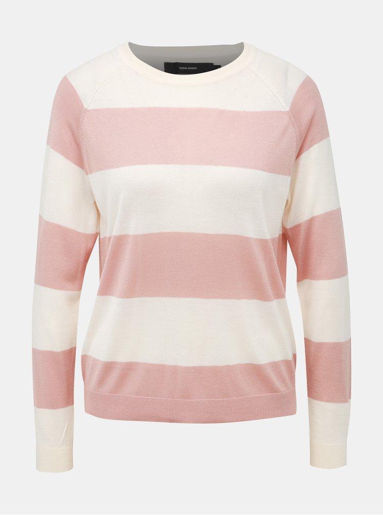 Rúžovo-krémový pruhovaný sveter VERO MODA Lina