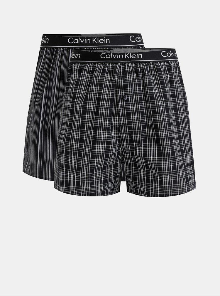 Sada dvoch pánskych čiernych vzorovaných slim fit trenýrok Calvin Klein Underwear