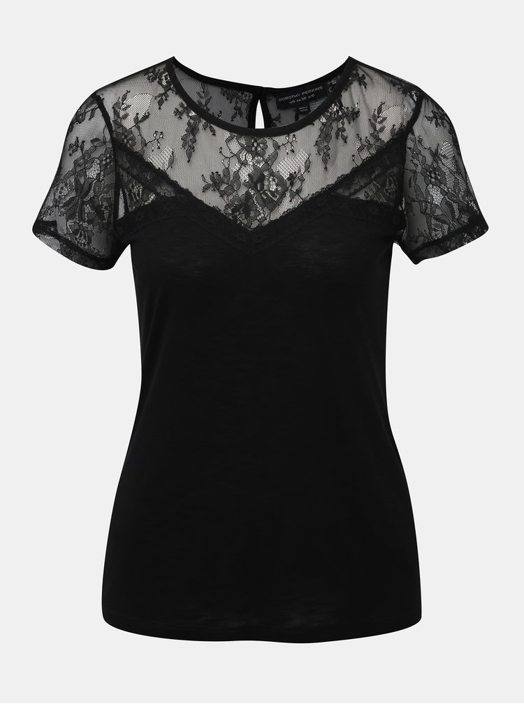 Čierne tričko s krajkou Dorothy Perkins