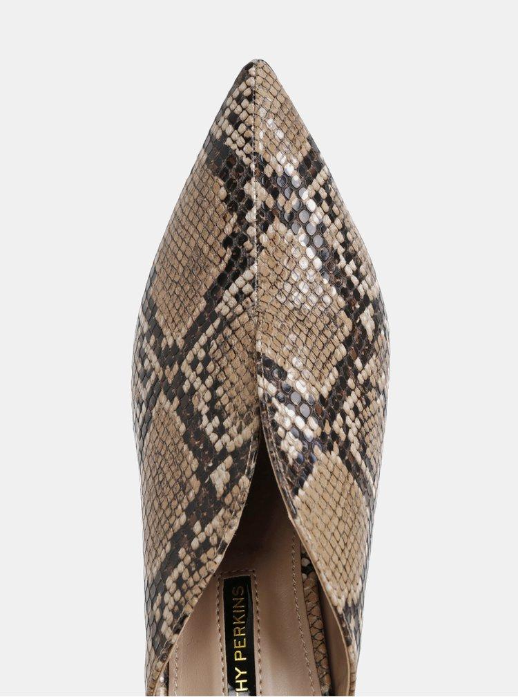Hnědé lodičky s hadím vzorem Dorothy Perkins
