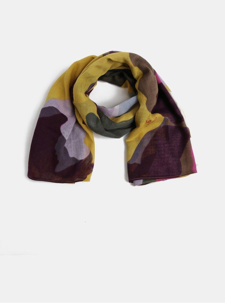 Vínovo-žlutý vzorovaný šátek Tom Joule Atmore